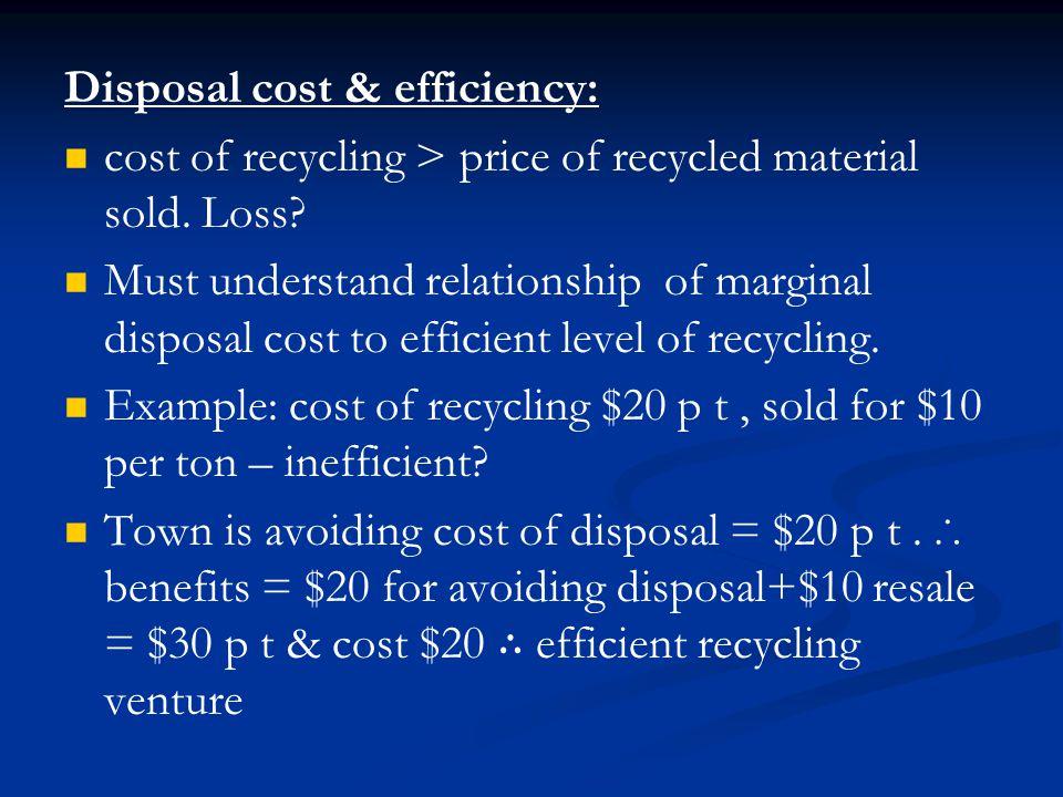Disposal cost & efficiency: