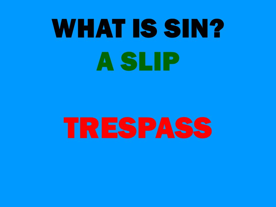 WHAT IS SIN A SLIP TRESPASS