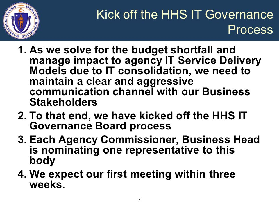 Kick off the HHS IT Governance Process