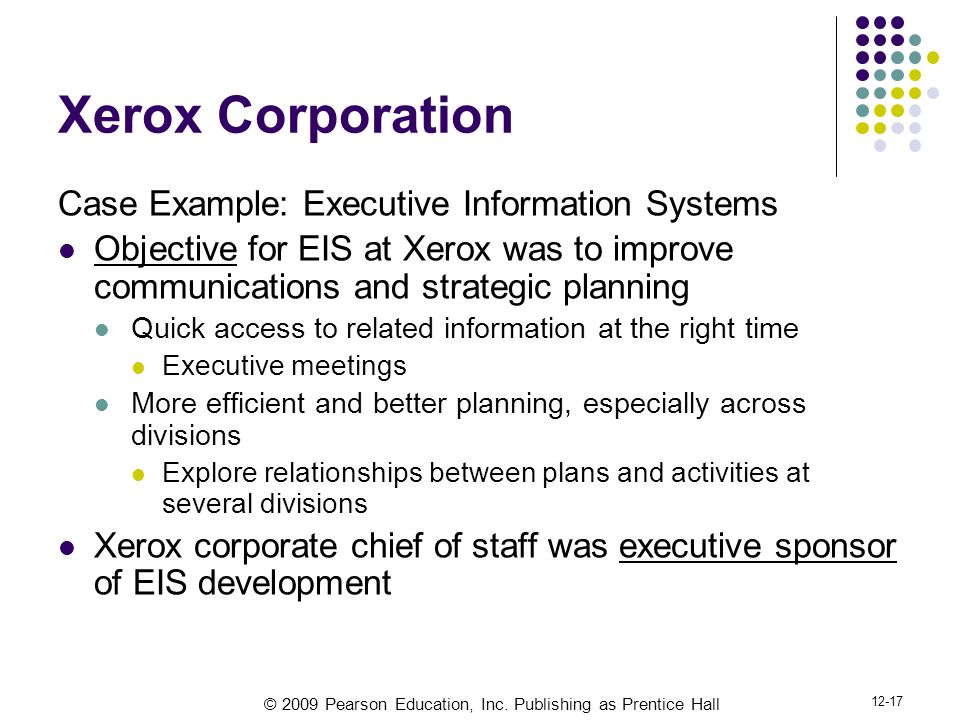 Xerox Corporation Case Example: Executive Information Systems