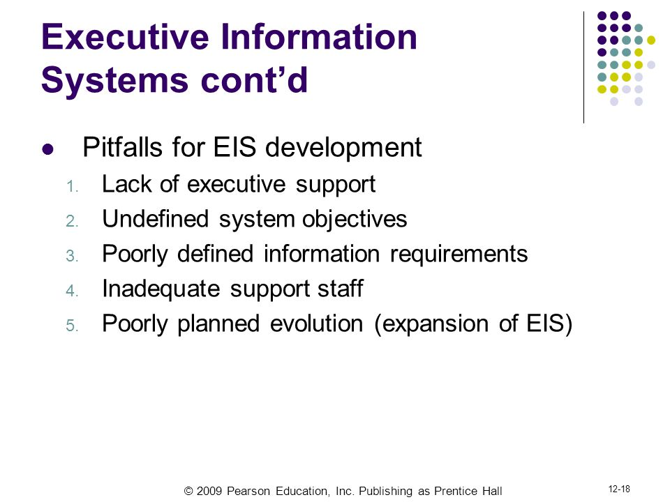 Executive Information Systems cont'd
