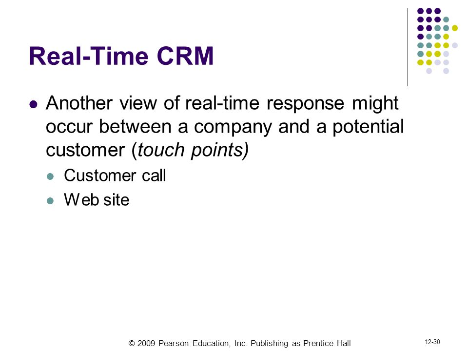 Real-Time CRM Another view of real-time response might occur between a company and a potential customer (touch points)