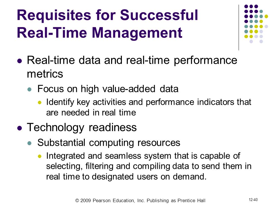 Requisites for Successful Real-Time Management