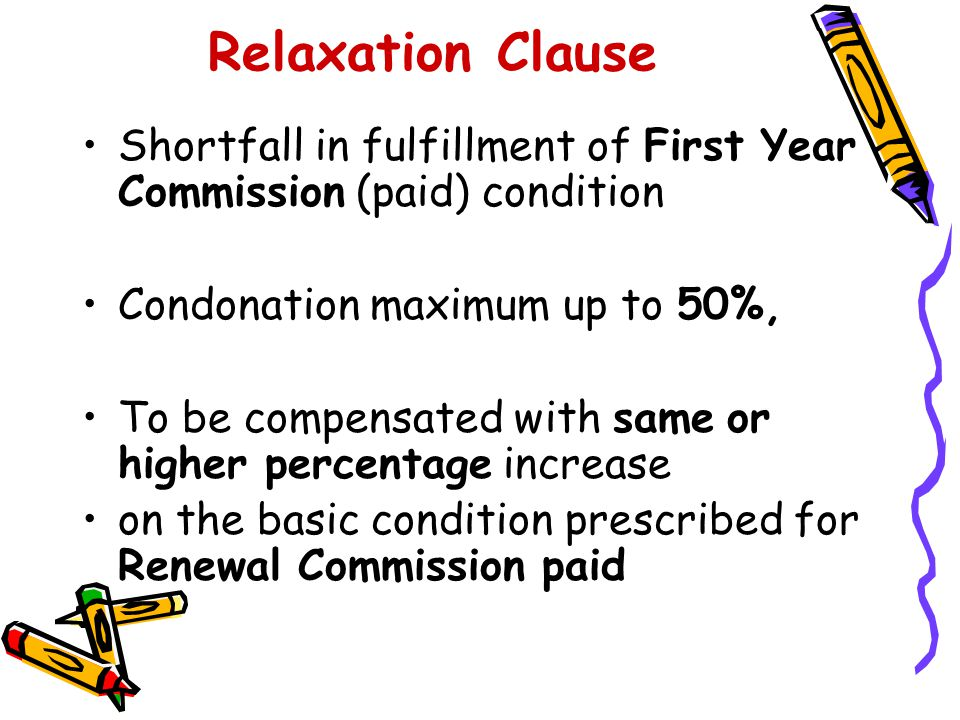 Relaxation Clause Shortfall in fulfillment of First Year Commission (paid) condition. Condonation maximum up to 50%,