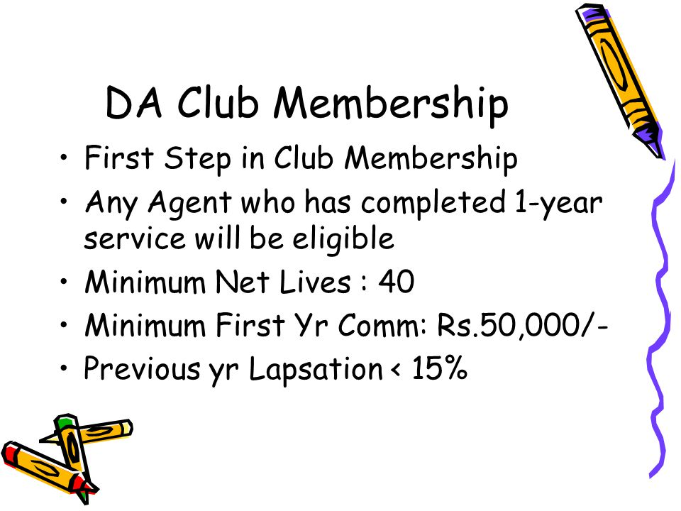 DA Club Membership First Step in Club Membership