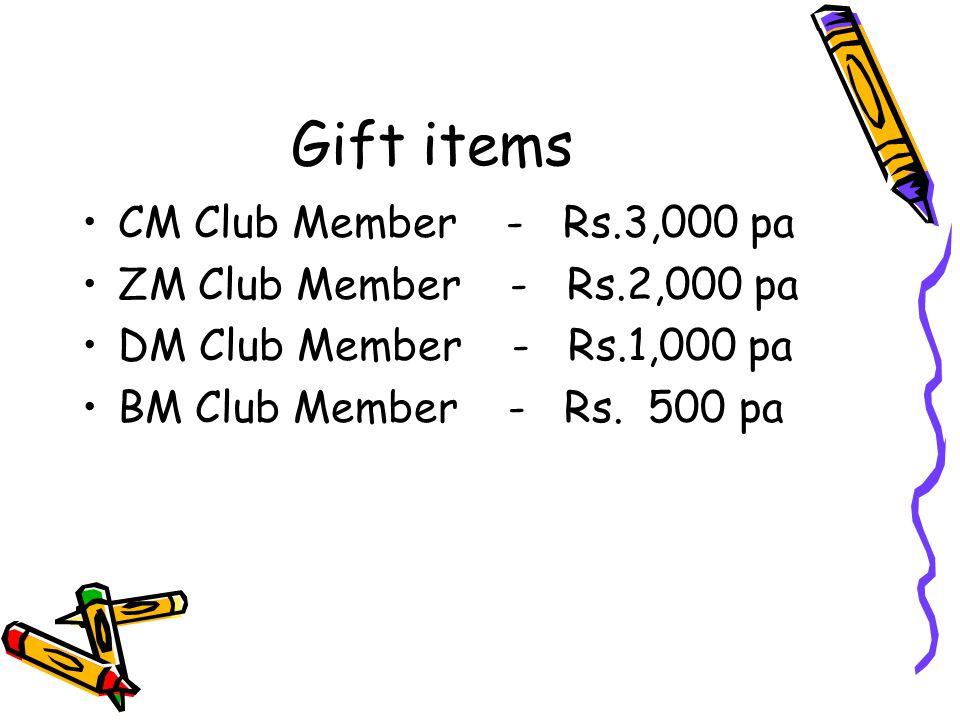 Gift items CM Club Member - Rs.3,000 pa ZM Club Member - Rs.2,000 pa