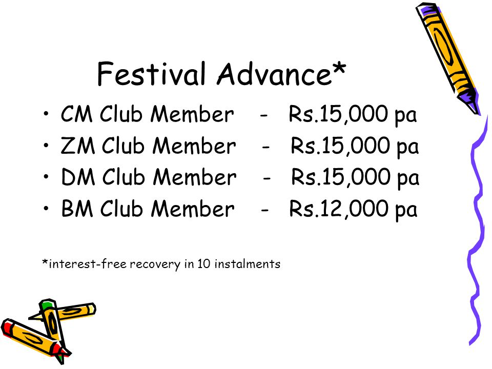 Festival Advance* CM Club Member - Rs.15,000 pa