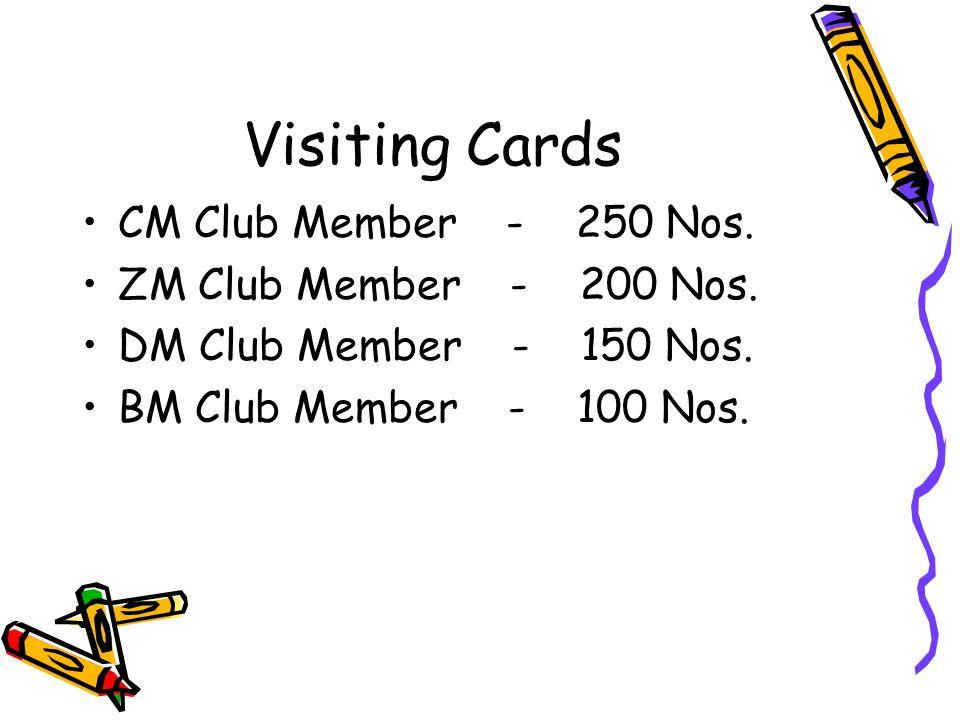 Visiting Cards CM Club Member - 250 Nos. ZM Club Member - 200 Nos.