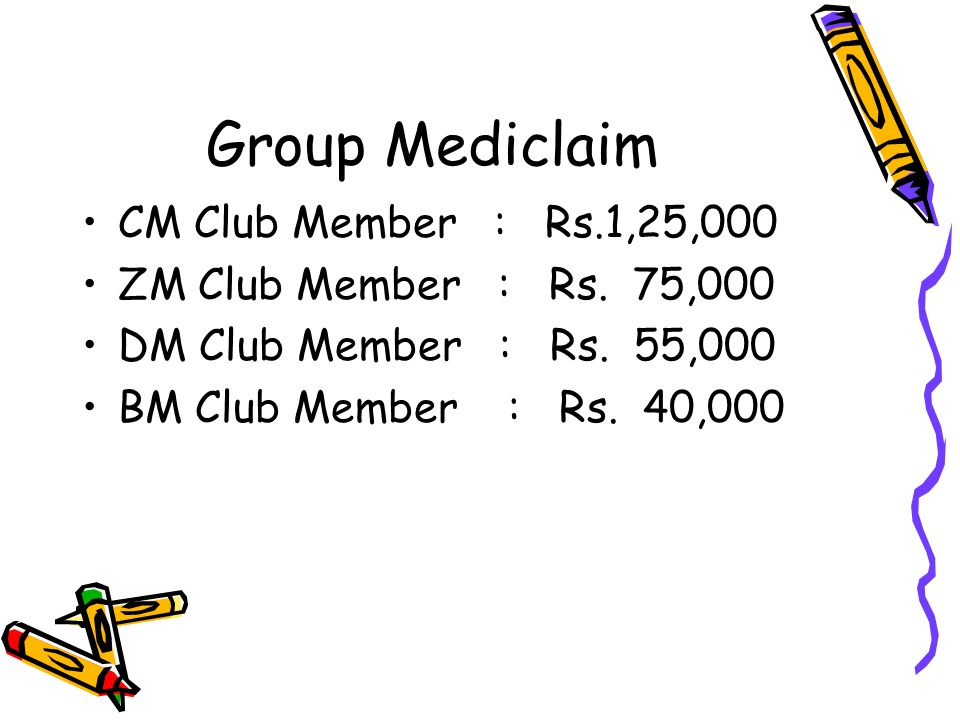 Group Mediclaim CM Club Member : Rs.1,25,000