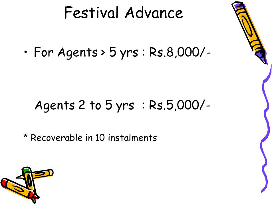 Festival Advance For Agents > 5 yrs : Rs.8,000/-