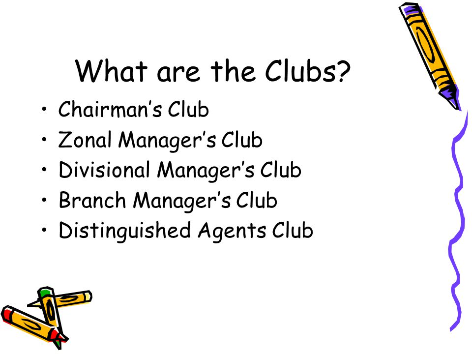 What are the Clubs Chairman's Club Zonal Manager's Club