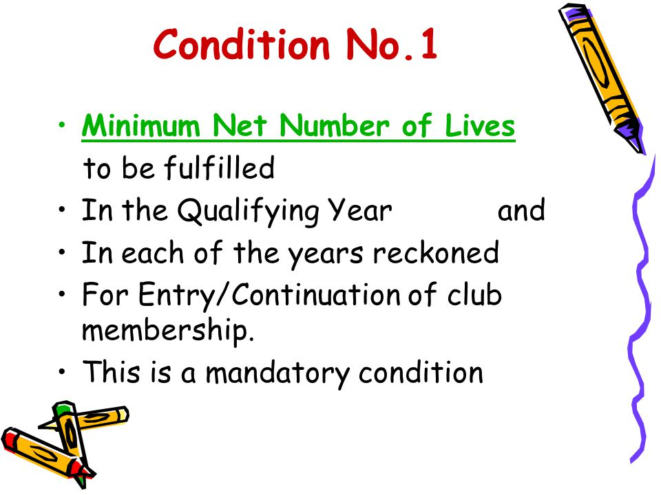 Condition No.1 Minimum Net Number of Lives to be fulfilled