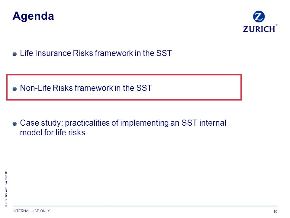 Agenda Life Insurance Risks framework in the SST