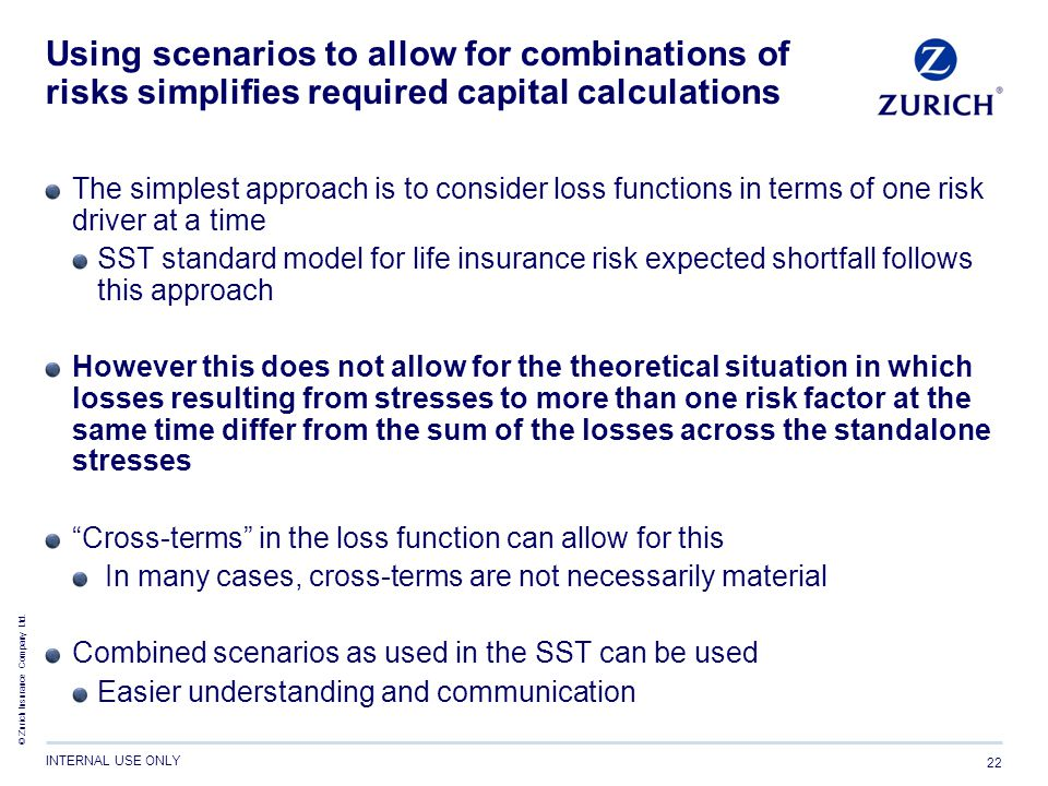 Using scenarios to allow for combinations of risks simplifies required capital calculations