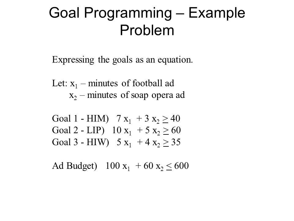 Goal Programming – Example Problem