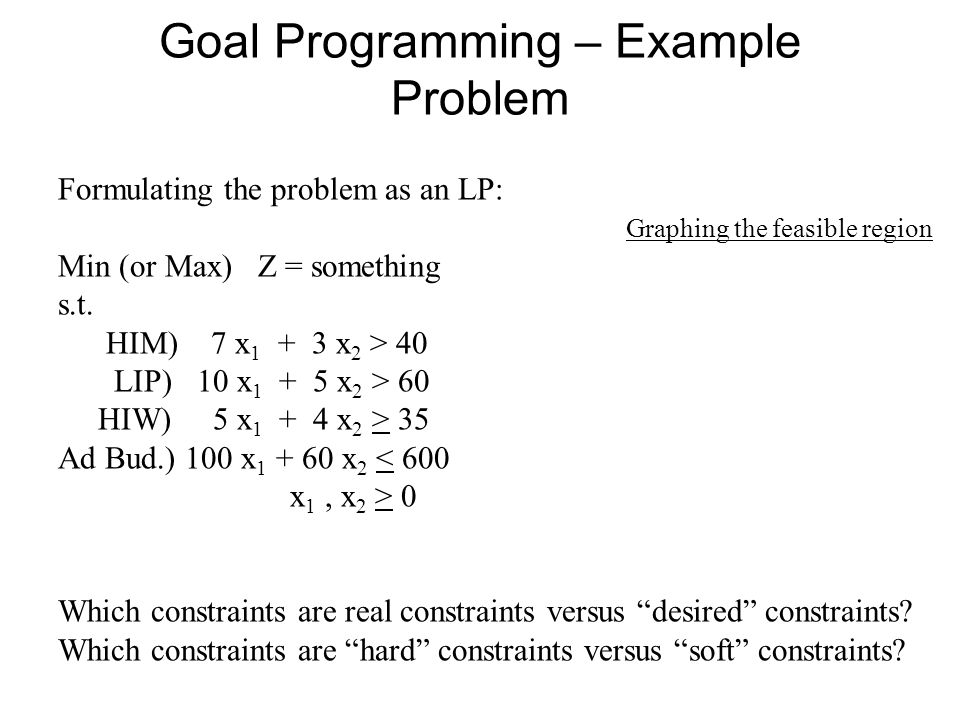 Goal Programming – Example Problem