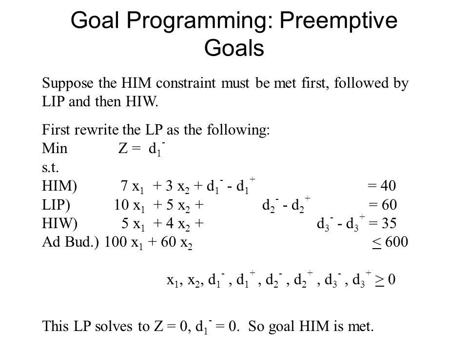 Goal Programming: Preemptive Goals