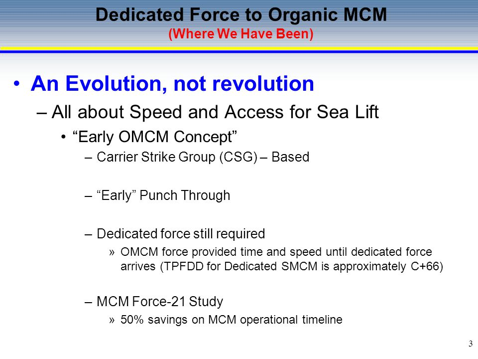 Dedicated Force to Organic MCM (Where We Have Been)