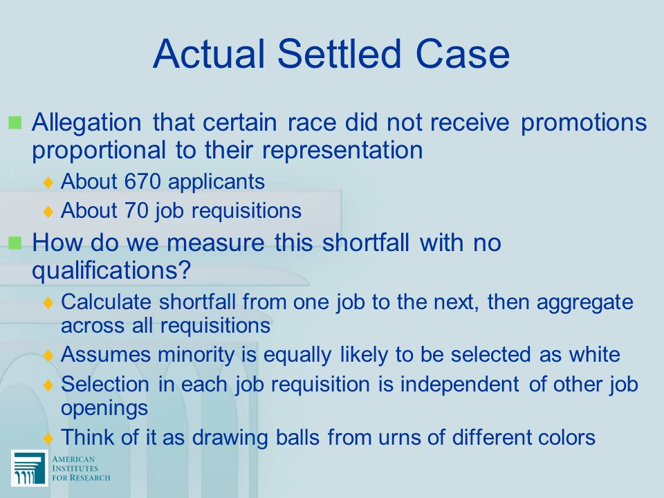 Actual Settled Case Allegation that certain race did not receive promotions proportional to their representation.