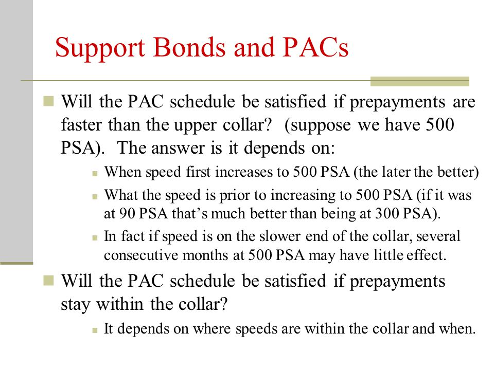 Support Bonds and PACs