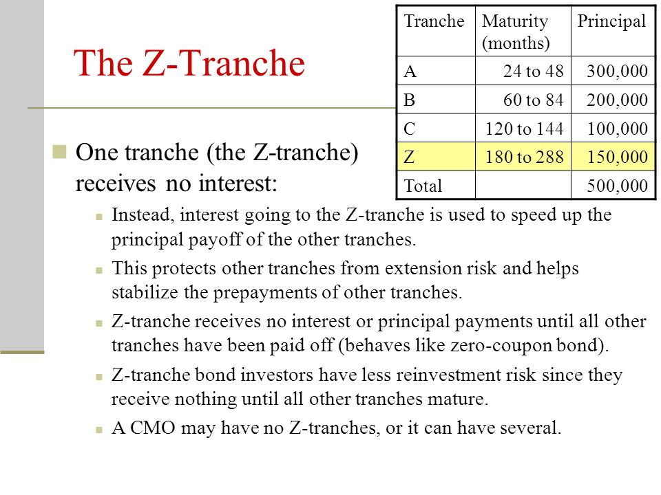 The Z-Tranche One tranche (the Z-tranche) receives no interest: