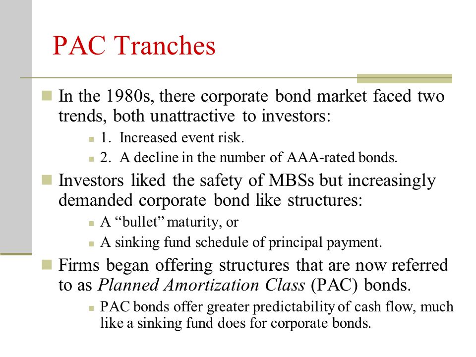 PAC Tranches In the 1980s, there corporate bond market faced two trends, both unattractive to investors: