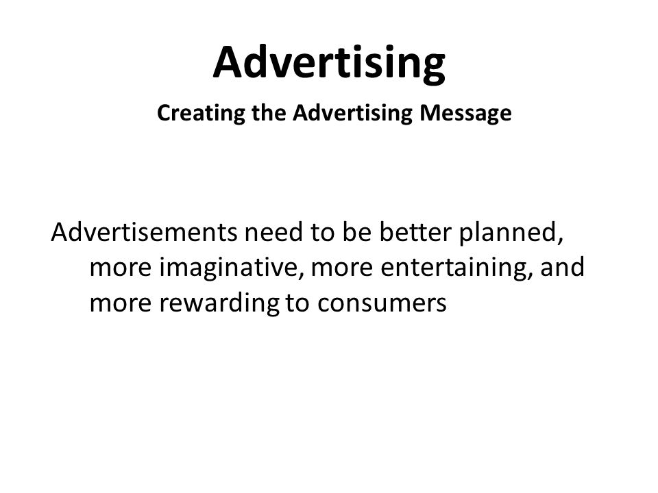 Creating the Advertising Message