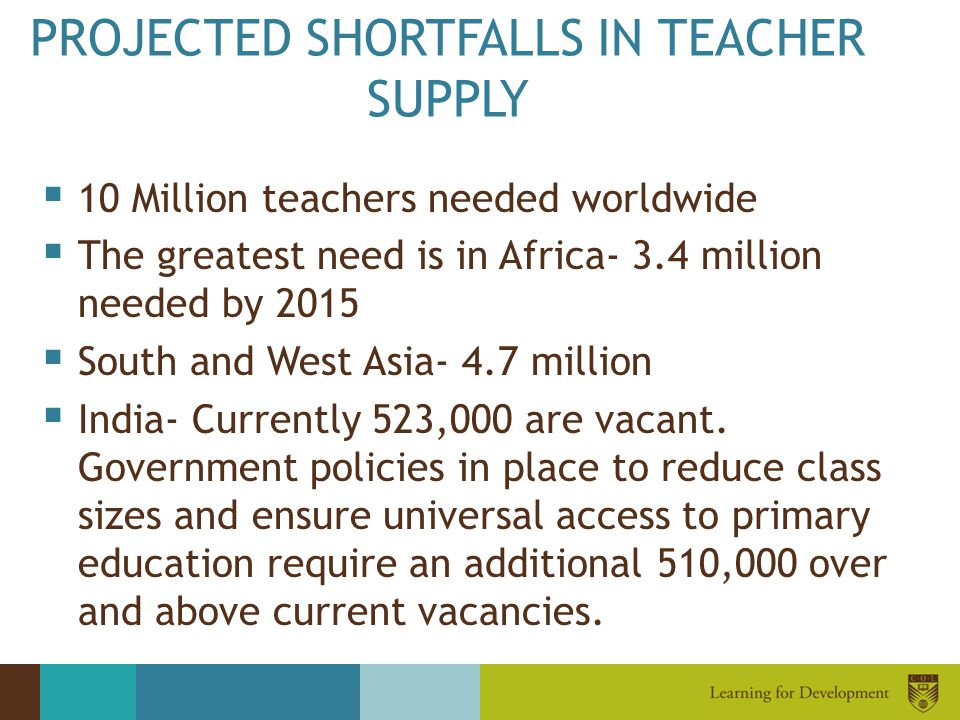PROJECTED SHORTFALLS IN TEACHER SUPPLY
