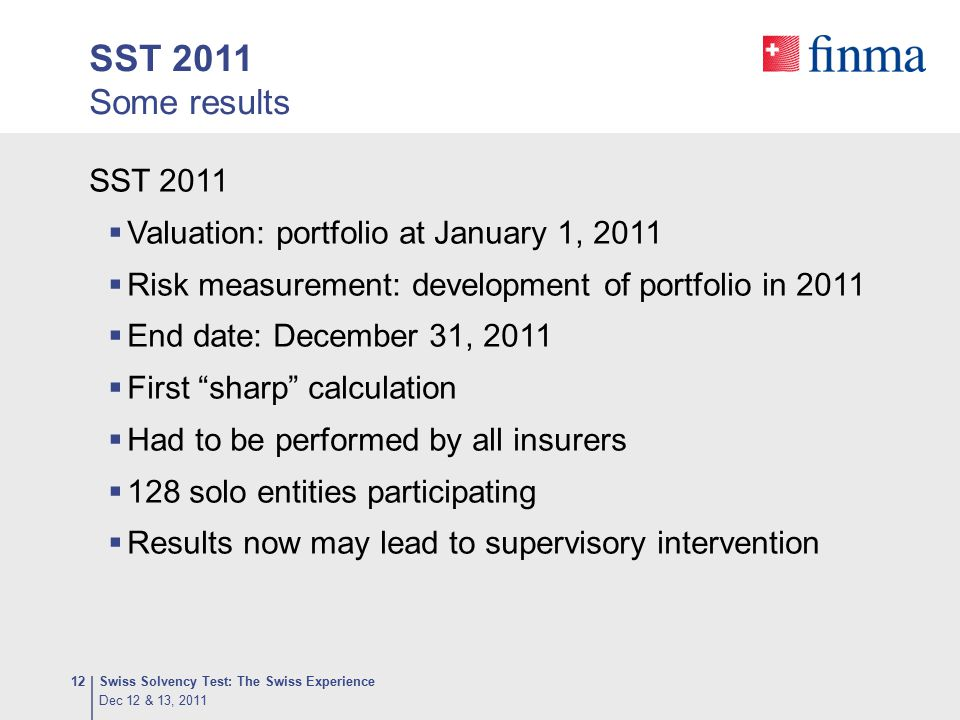 SST 2011 Some results SST 2011 Valuation: portfolio at January 1, 2011