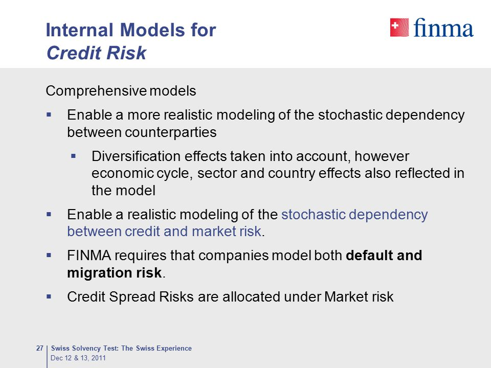 Internal Models for Credit Risk