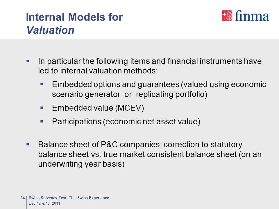 Internal Models for Valuation
