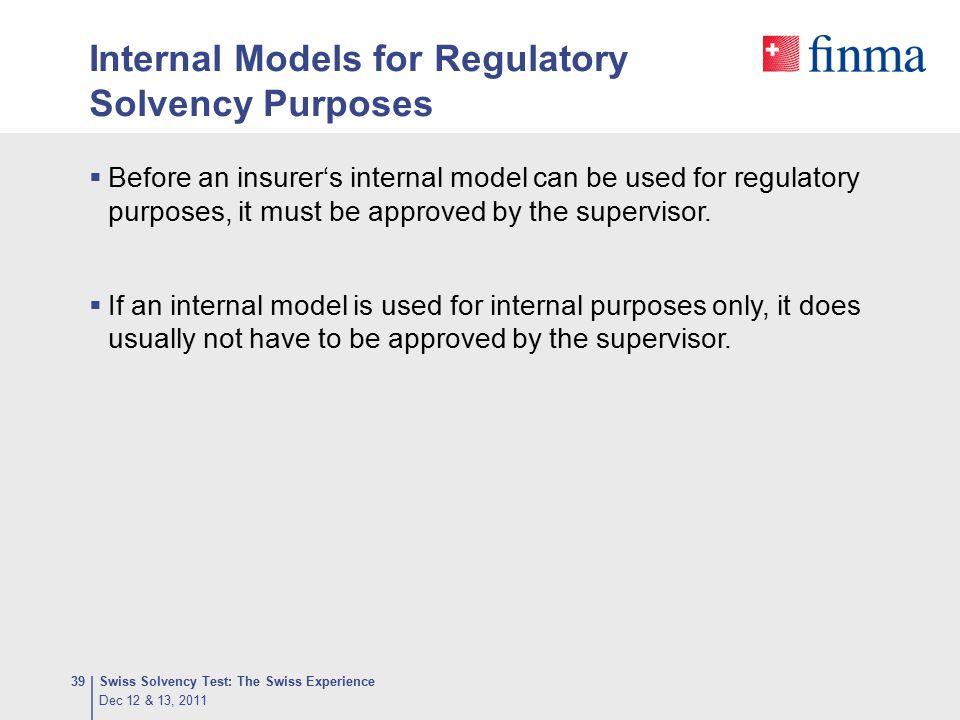 Internal Models for Regulatory Solvency Purposes