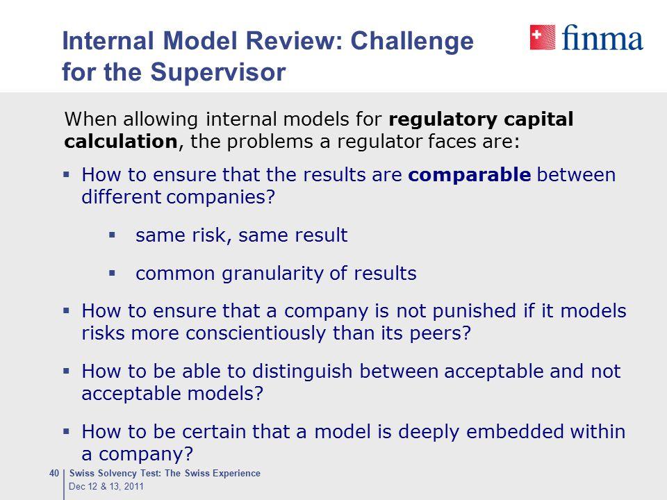 Internal Model Review: Challenge for the Supervisor