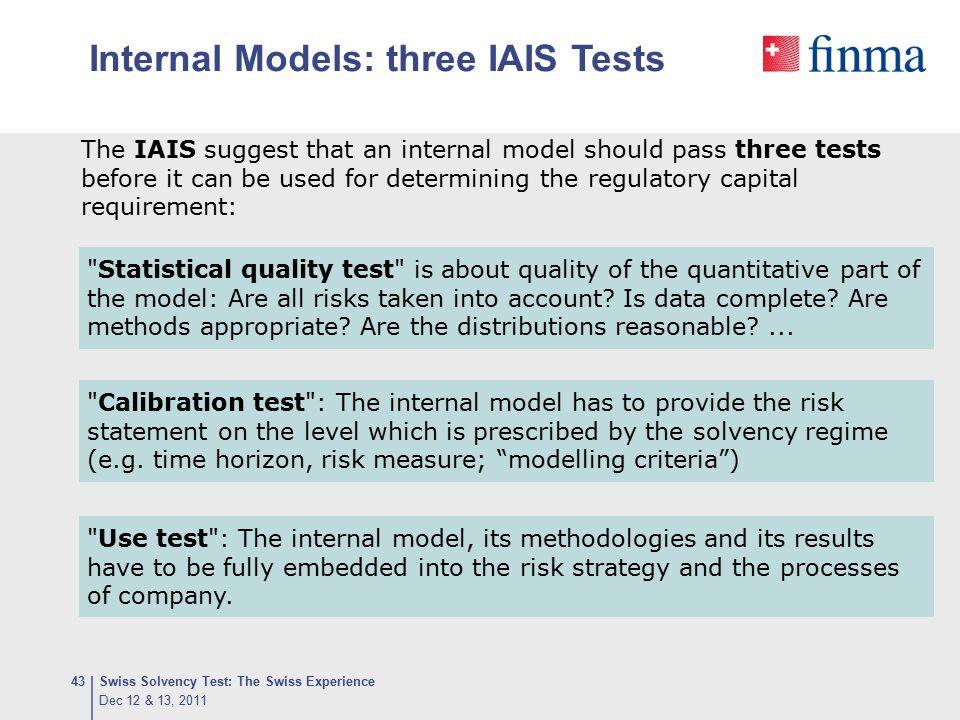 Internal Models: three IAIS Tests