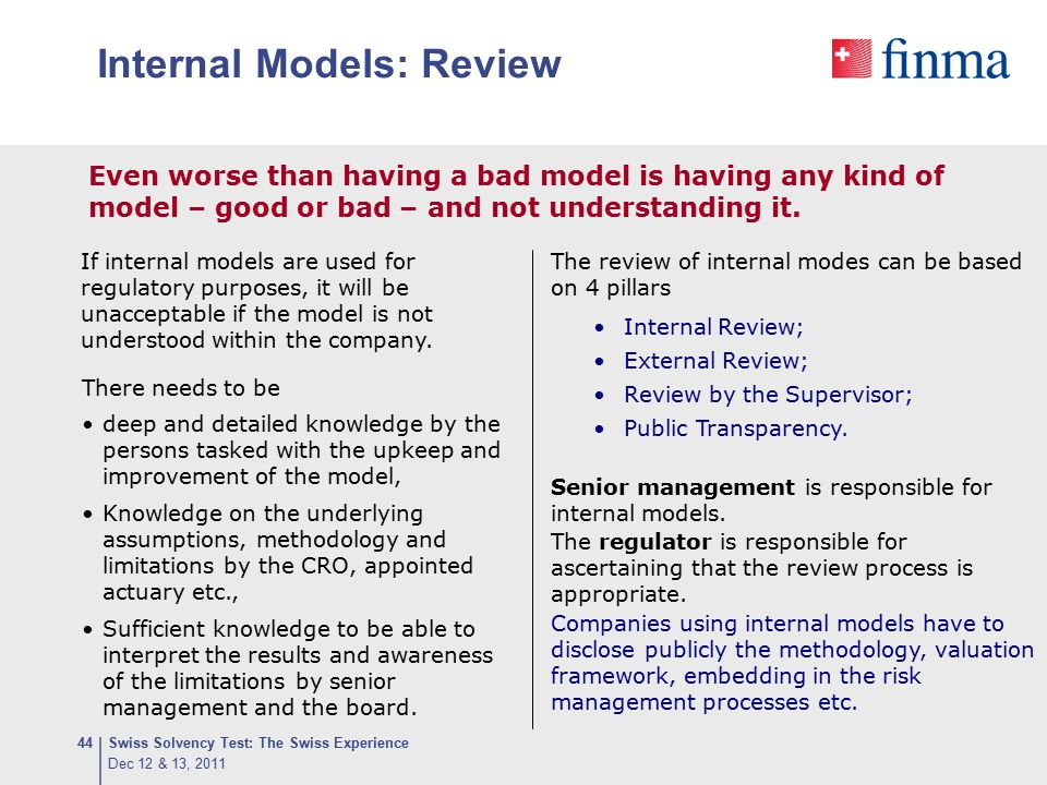 Internal Models: Review