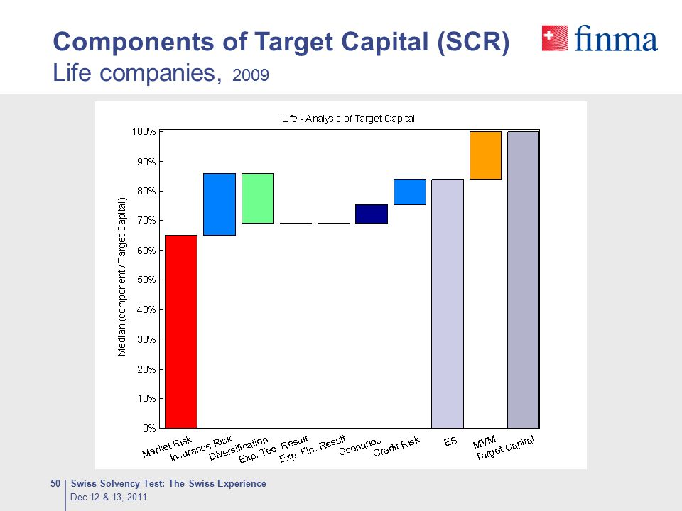 Components of Target Capital (SCR) Life companies, 2009