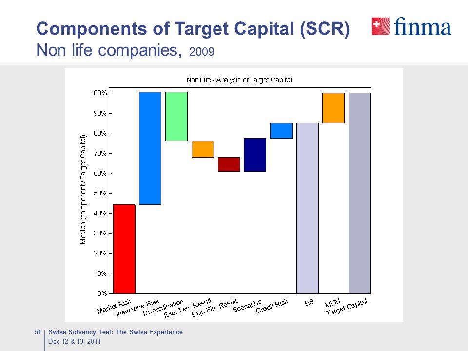 Components of Target Capital (SCR) Non life companies, 2009