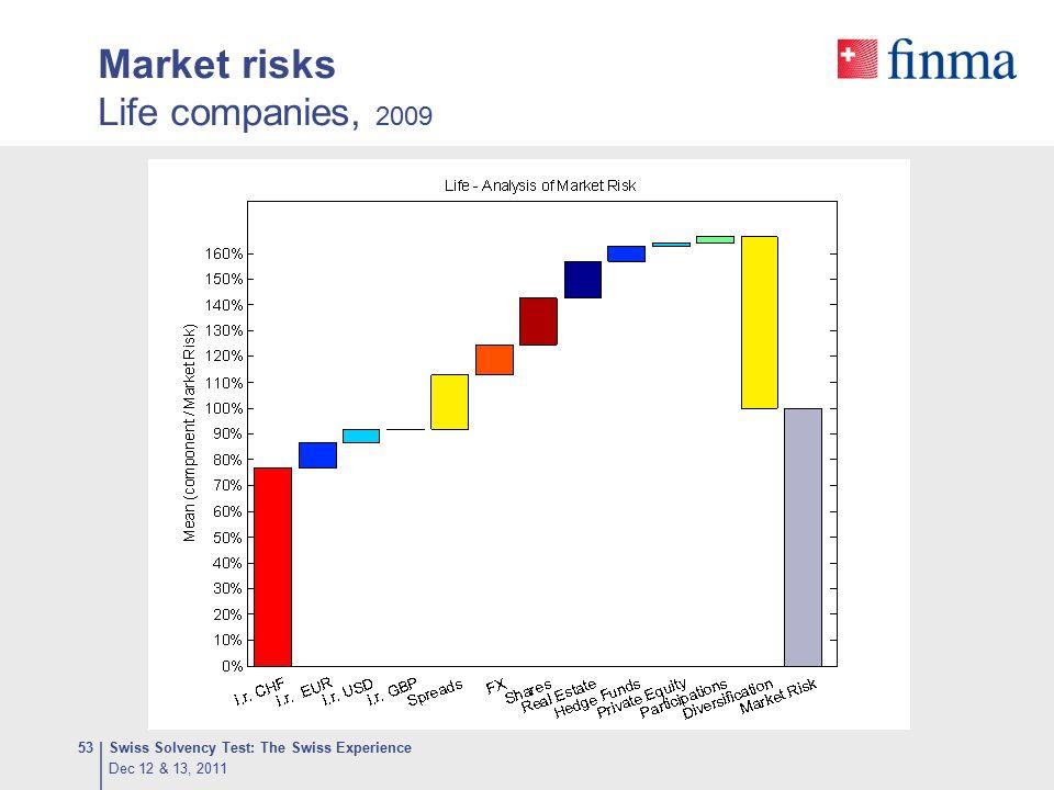 Market risks Life companies, 2009