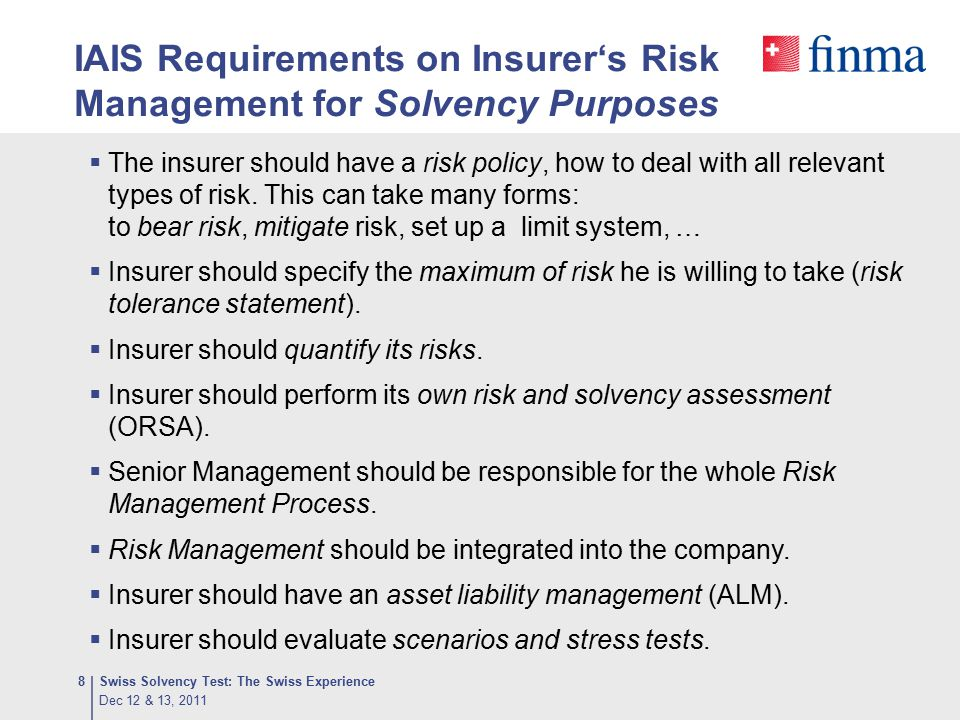 IAIS Requirements on Insurer's Risk Management for Solvency Purposes