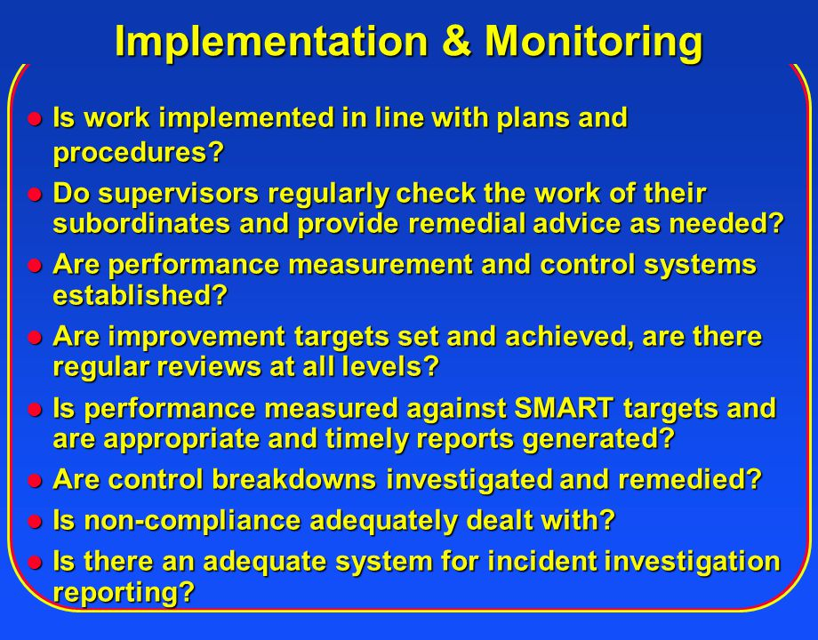 Implementation & Monitoring