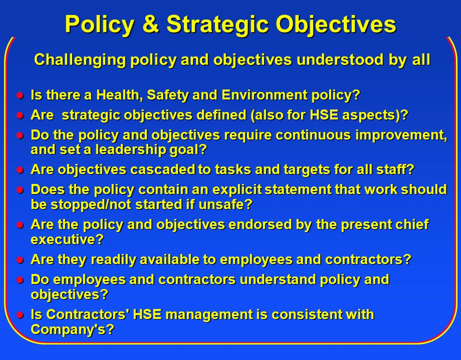 Policy & Strategic Objectives