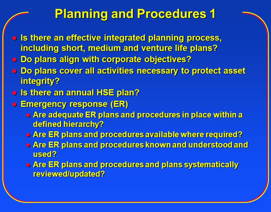 Planning and Procedures 1