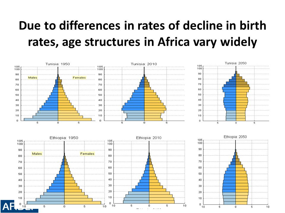 Due to differences in rates of decline in birth rates, age structures in Africa vary widely