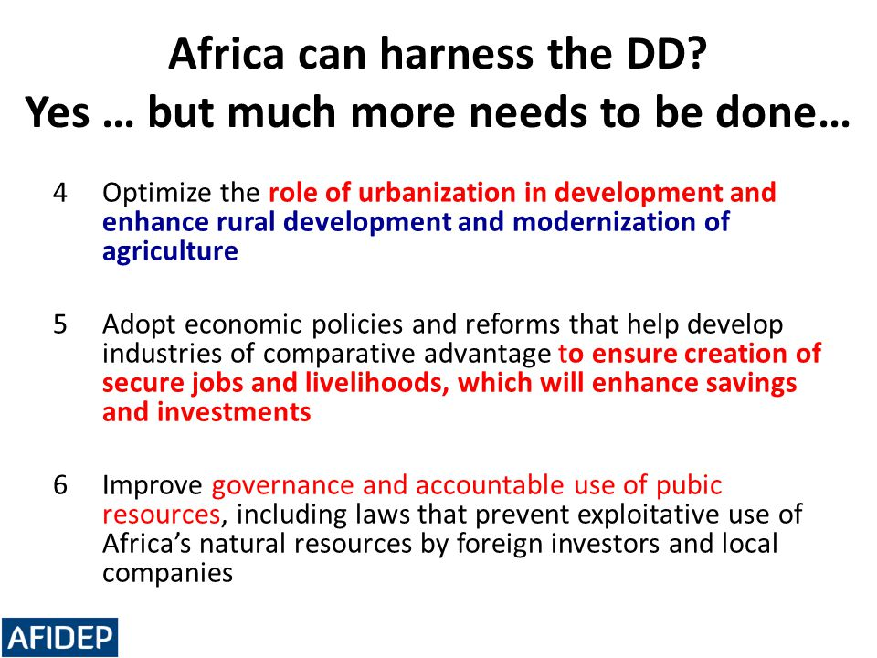 Africa can harness the DD Yes … but much more needs to be done…