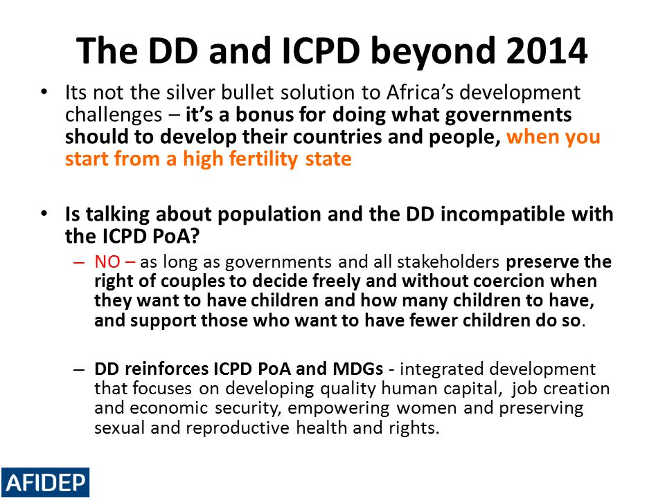The DD and ICPD beyond 2014