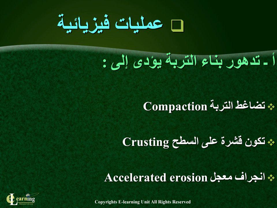 عمليات فيزيائية أ ـ تدهور بناء التربة يؤدى إلى :