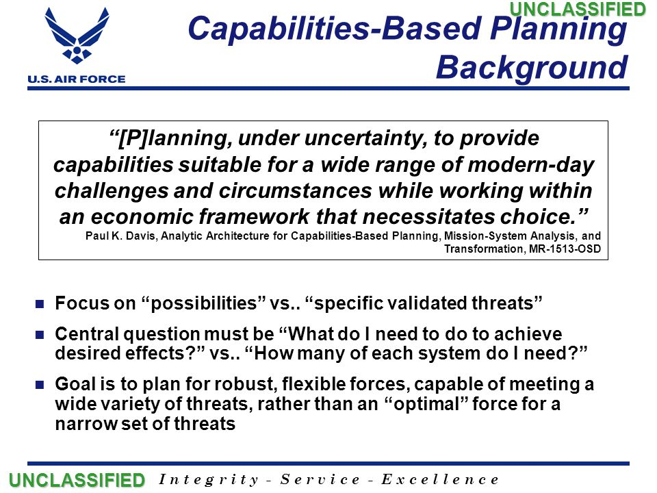 Capabilities-Based Planning Background