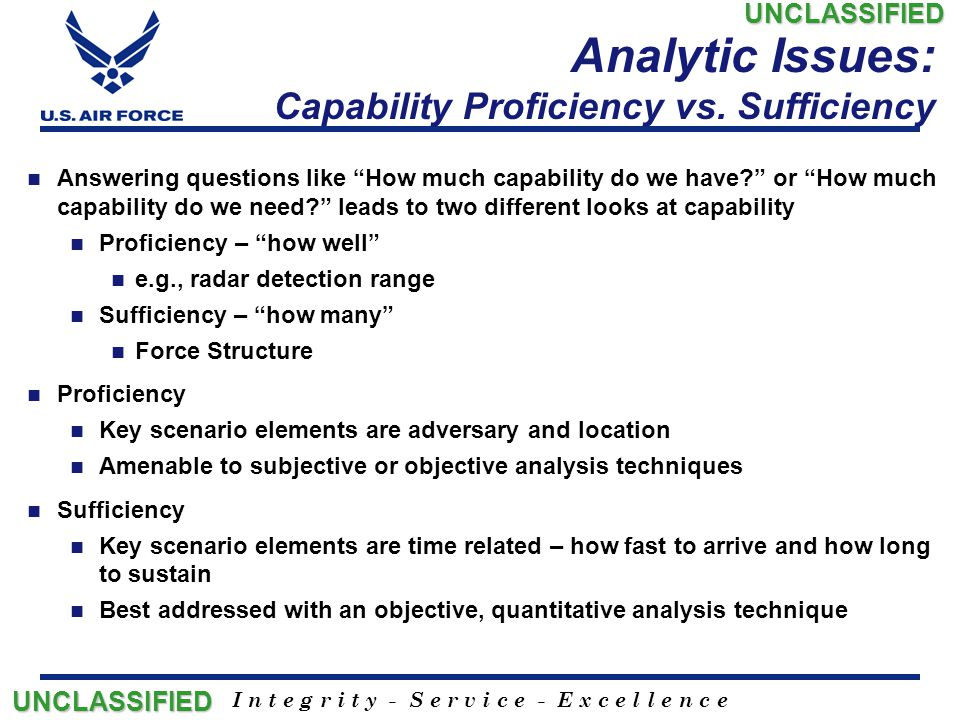 Analytic Issues: Capability Proficiency vs. Sufficiency