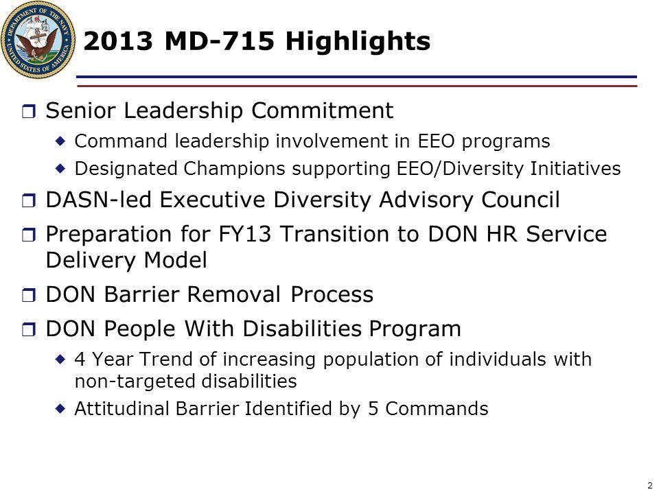 2013 MD-715 Highlights Senior Leadership Commitment