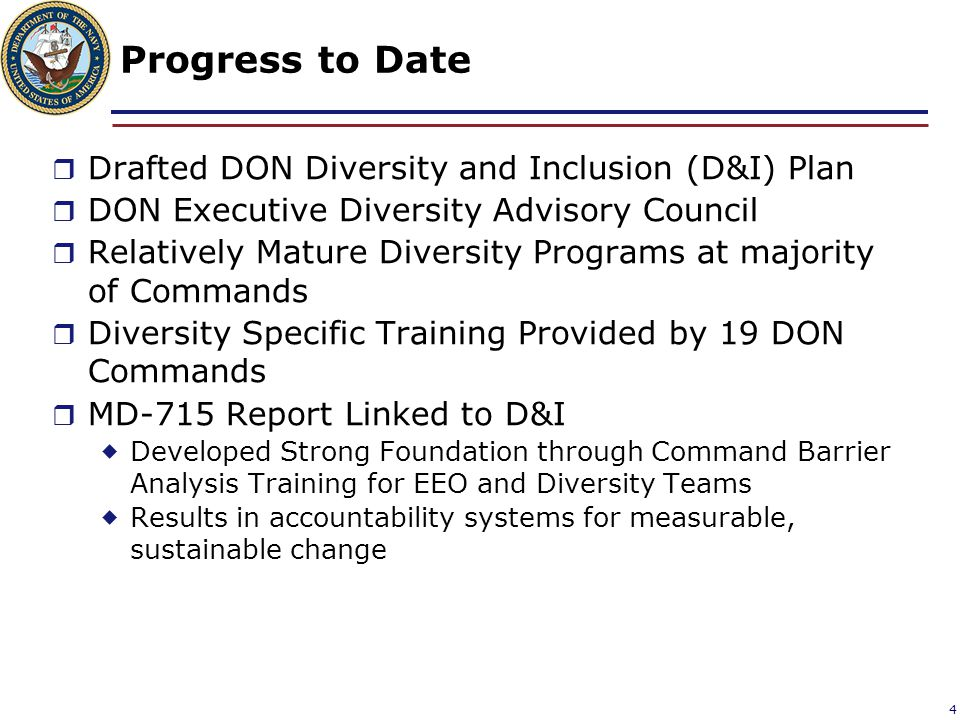 Progress to Date Drafted DON Diversity and Inclusion (D&I) Plan